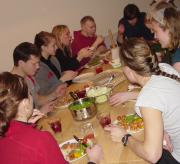 Food is served at the ski camp in Orsa-Gr�nklitt.